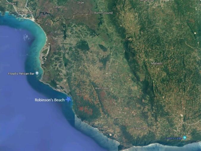 Ruhiger Strand an der Südküste Jamaikas