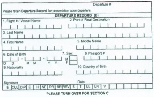 Rückreiseformular aus Jamaika